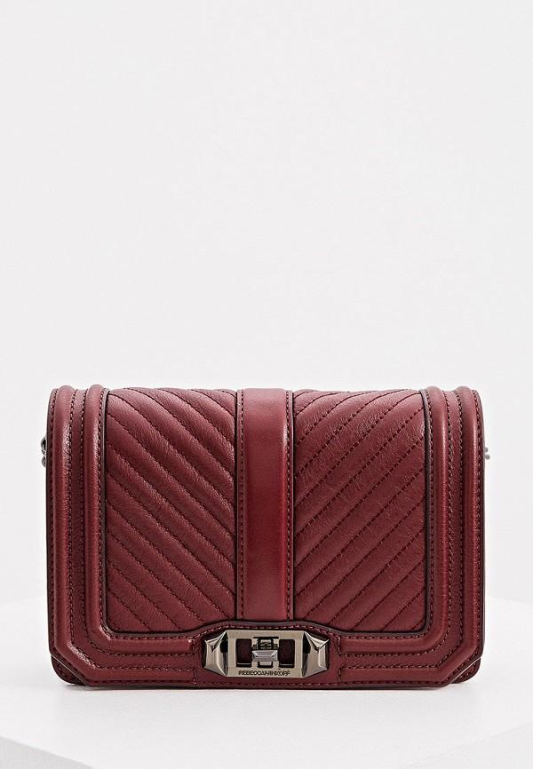 женская сумка через плечо rebecca minkoff, бордовая