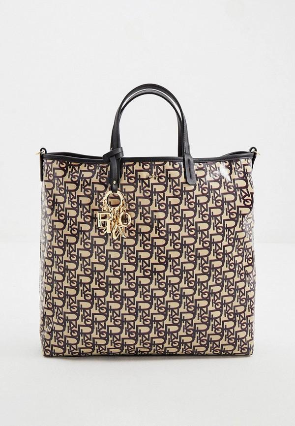 женская сумка с ручками pinko, бежевая