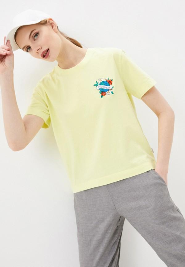 женская спортивные футболка quiksilver, желтая