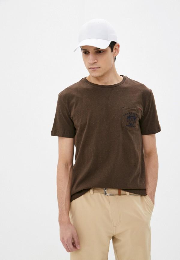мужская спортивные футболка quiksilver, коричневая