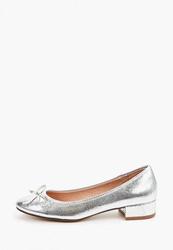 женские туфли с закрытым носом kazar studio, серебряные