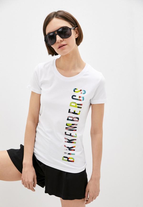 женская футболка bikkembergs, белая