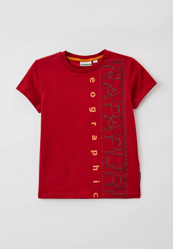 футболка с коротким рукавом napapijri для мальчика, красная