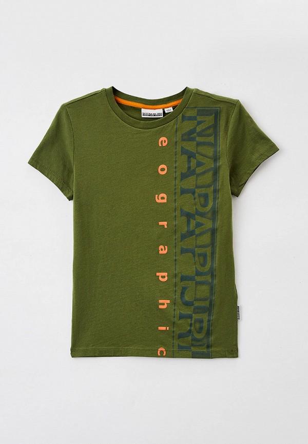 футболка с коротким рукавом napapijri для мальчика, хаки