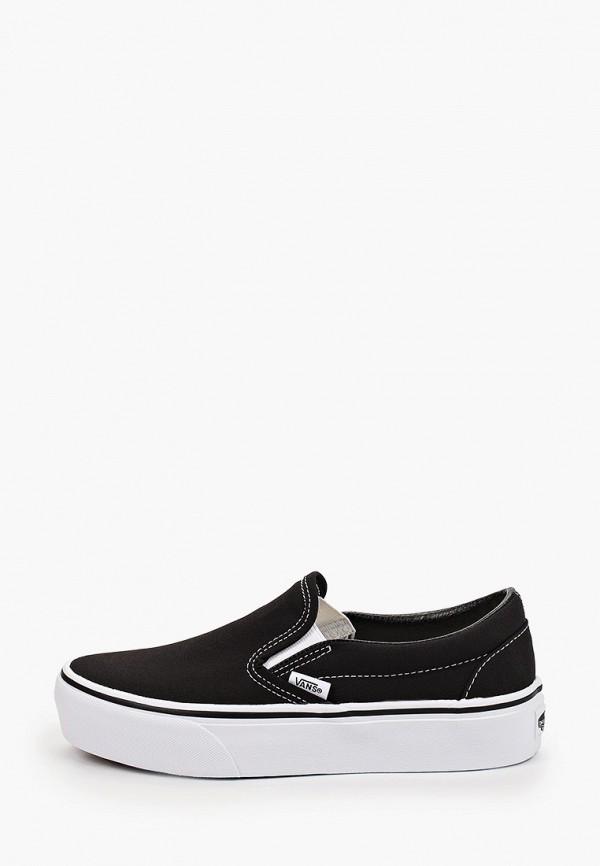 женские низкие слипоны vans, черные
