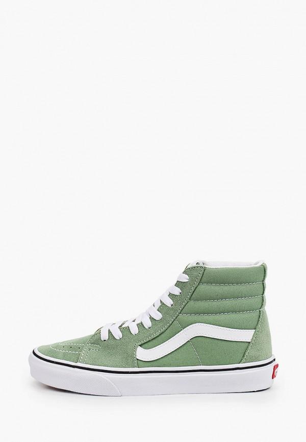 женские высокие кеды vans, зеленые