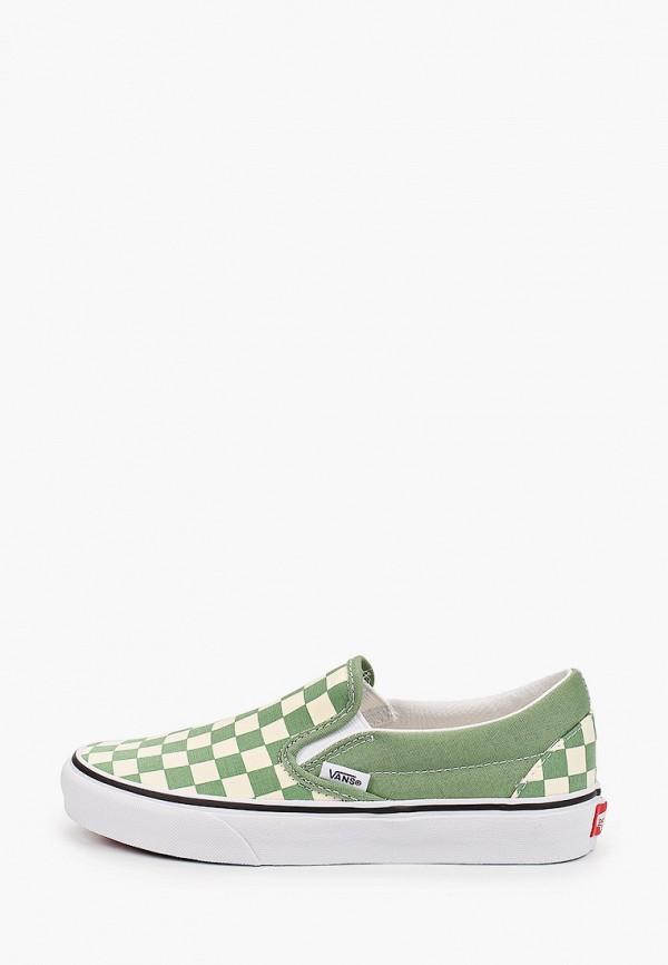 женские низкие слипоны vans, зеленые