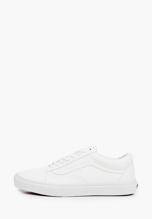 женские низкие кеды vans, белые