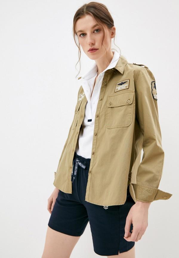 женская рубашка с длинным рукавом aeronautica militare, хаки