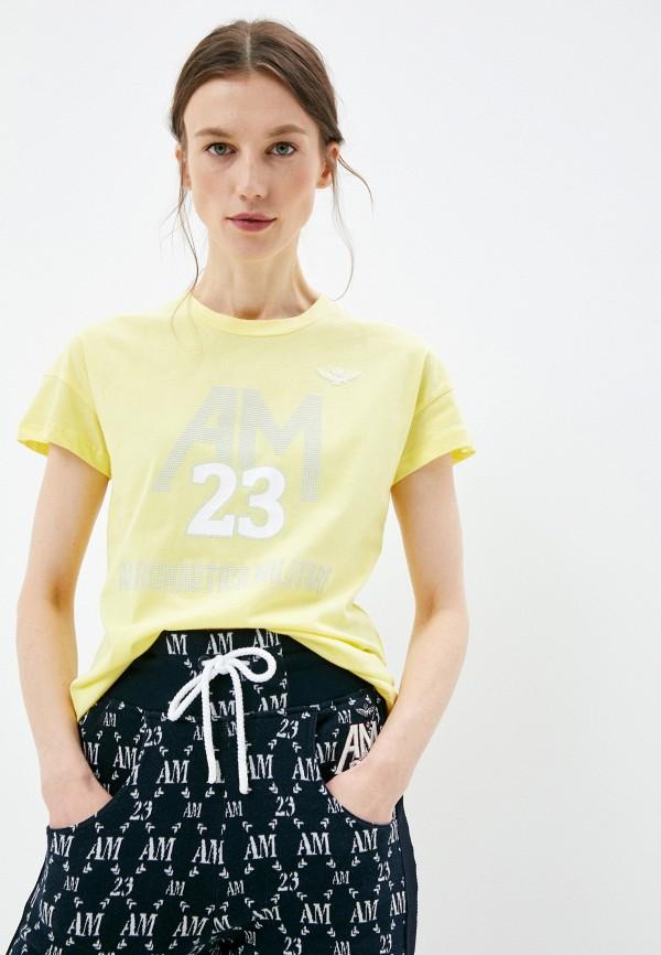 женская футболка aeronautica militare, желтая