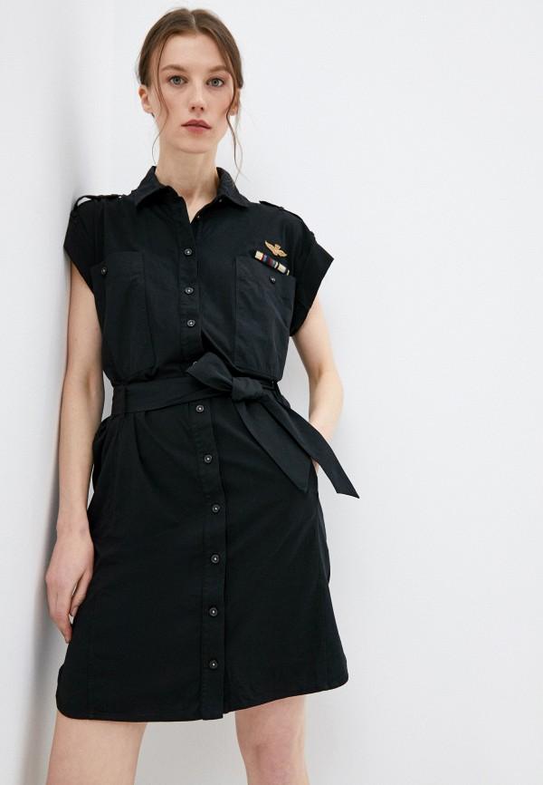 женское платье aeronautica militare, черное
