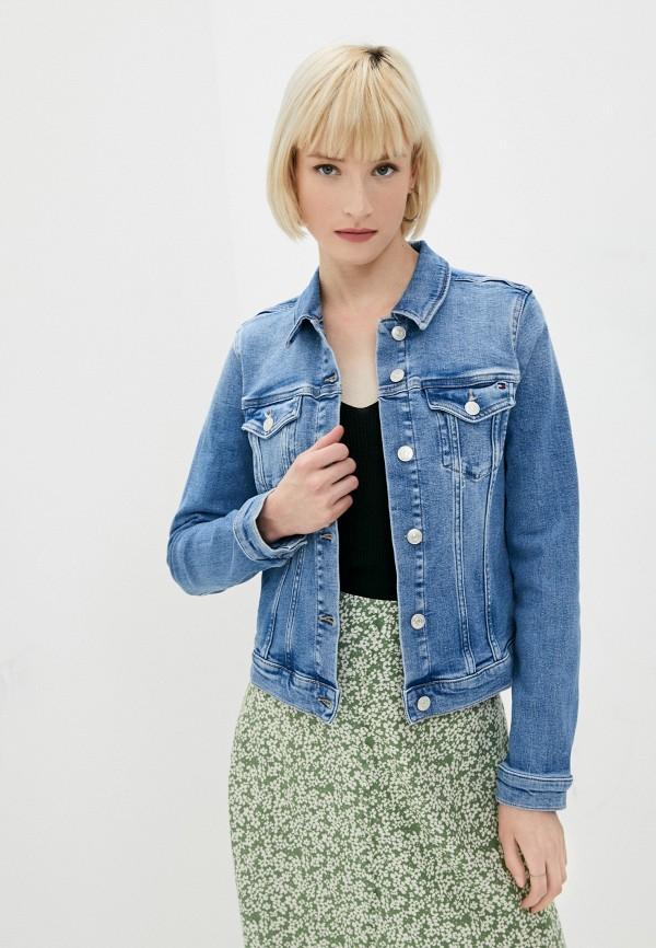 женская джинсовые куртка tommy hilfiger, синяя