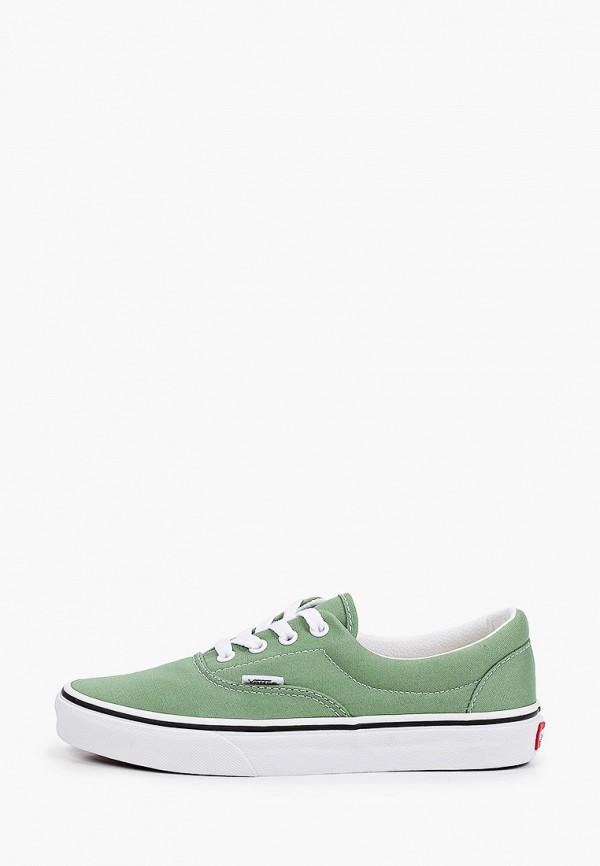 женские низкие кеды vans, зеленые