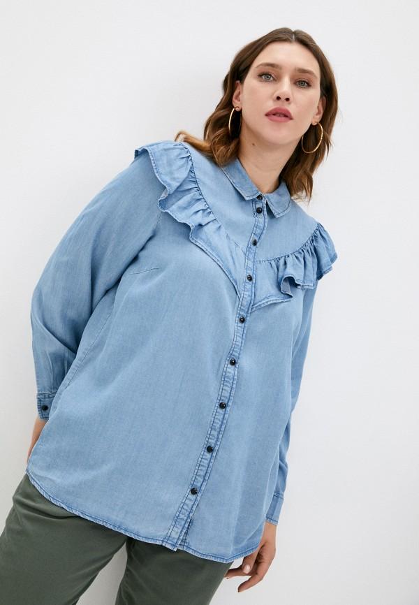 женская джинсовые рубашка zizzi, голубая
