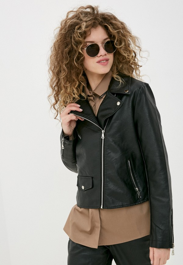 женская куртка косухи pink woman, черная