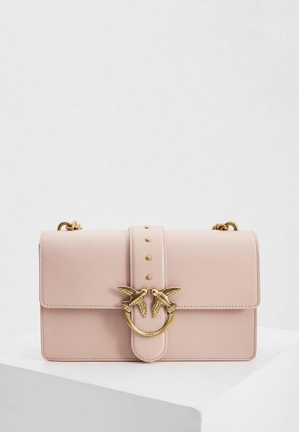 женская сумка через плечо pinko, розовая