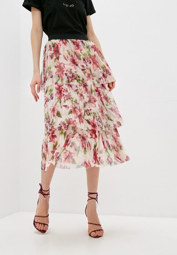 женская плиссированные юбка liu jo, бежевая