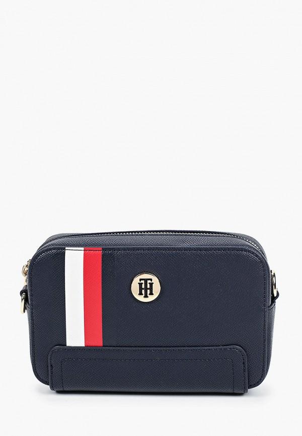 женская сумка через плечо tommy hilfiger, синяя