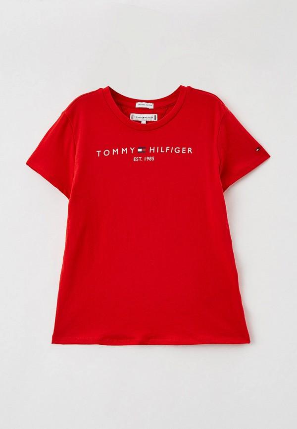 футболка с коротким рукавом tommy hilfiger для девочки, красная