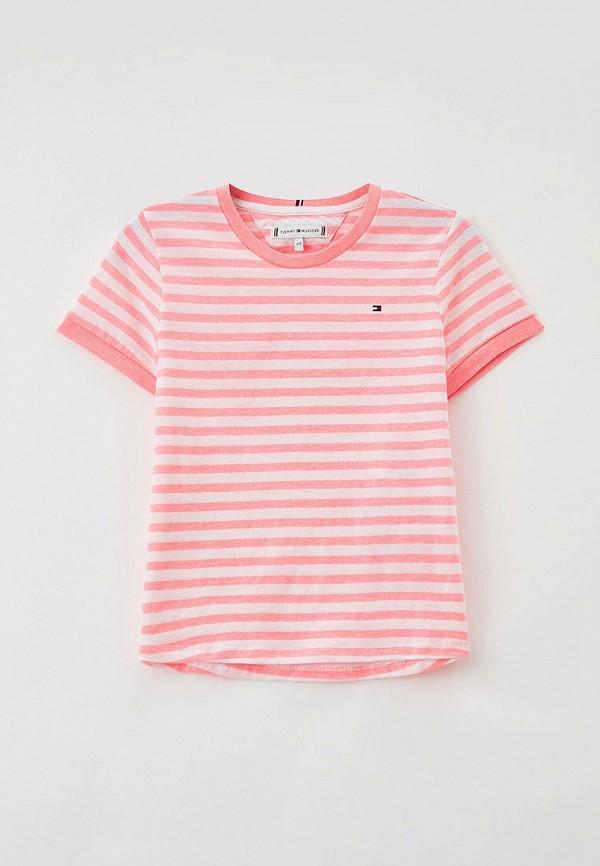 футболка с коротким рукавом tommy hilfiger для девочки, розовая