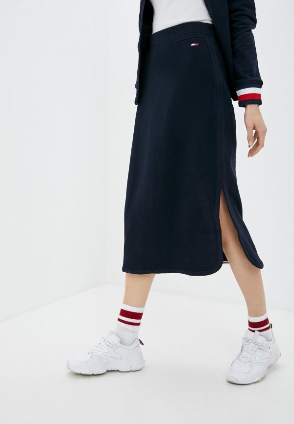 женская прямые юбка tommy hilfiger, синяя