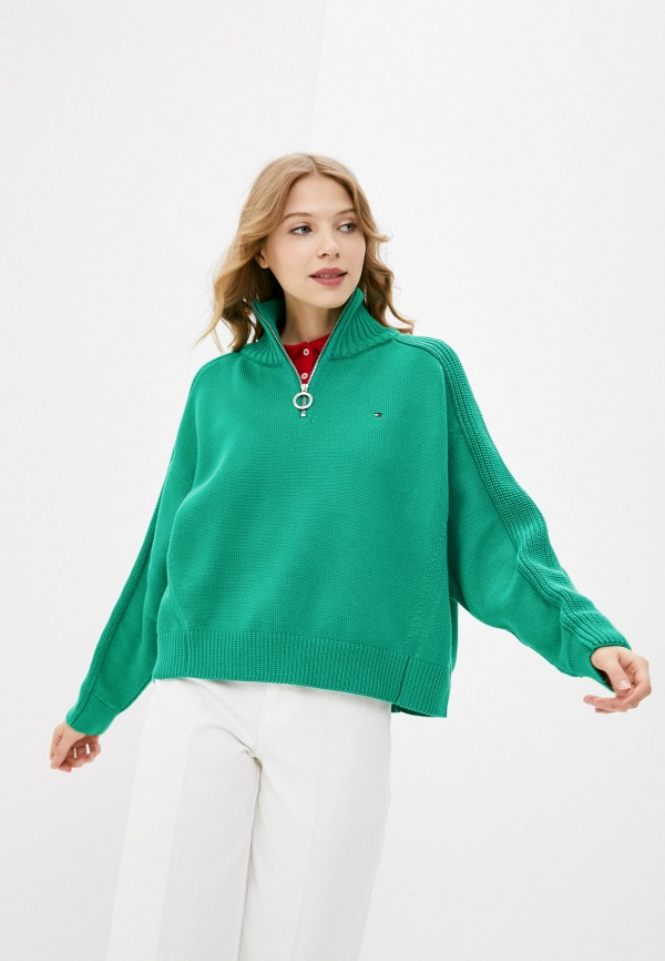 женский свитер tommy hilfiger, зеленый