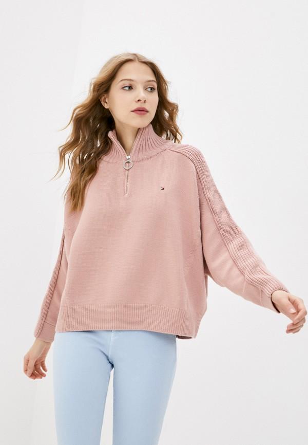 женский свитер tommy hilfiger, розовый