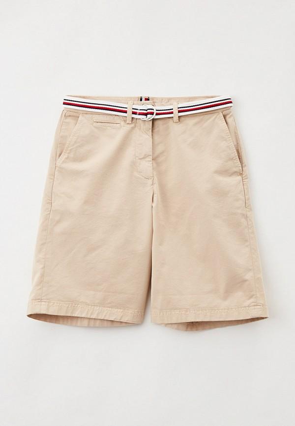 женские повседневные шорты tommy hilfiger, бежевые