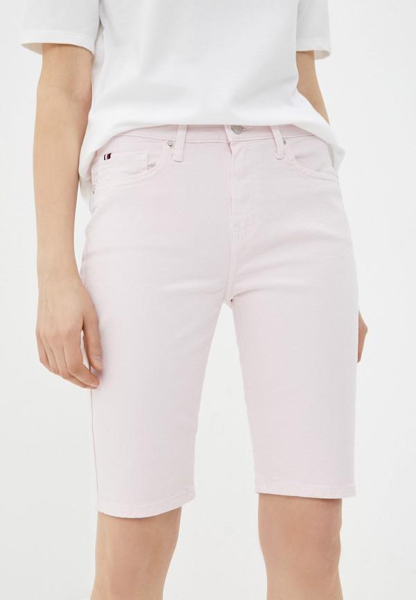женские джинсовые шорты tommy hilfiger, розовые