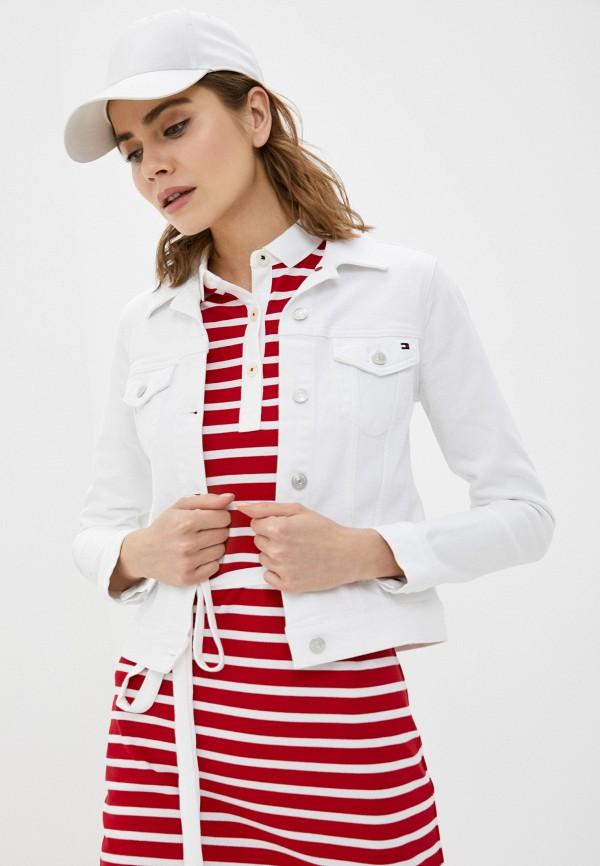 женская джинсовые куртка tommy hilfiger, белая