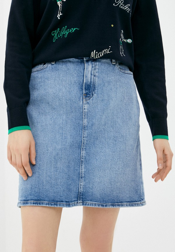 женская джинсовые юбка tommy hilfiger, голубая