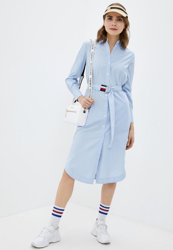 женское платье-рубашки tommy hilfiger, голубое