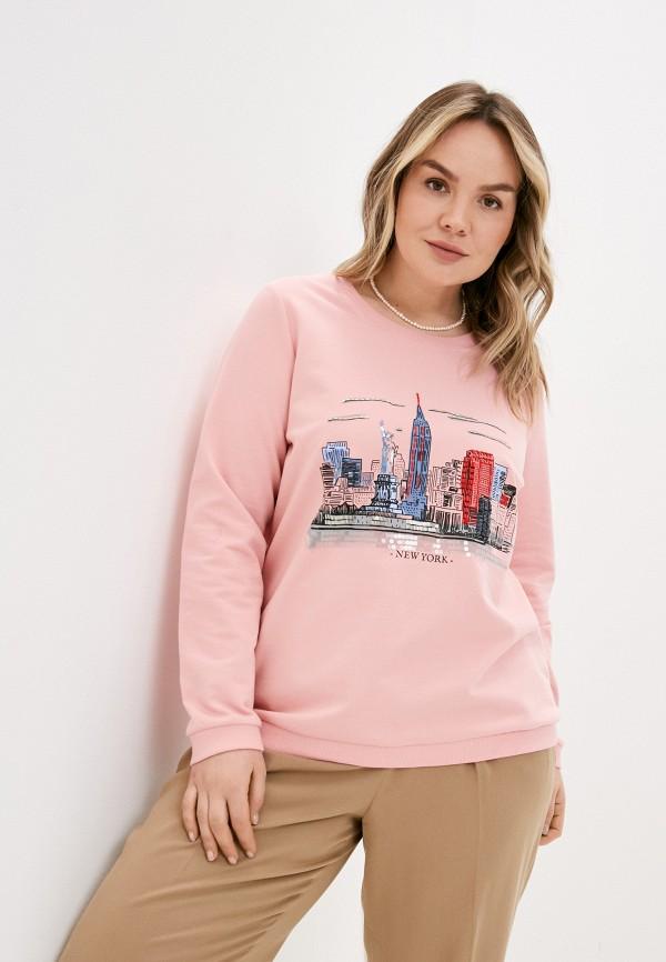 женский свитшот ulla popken, розовый