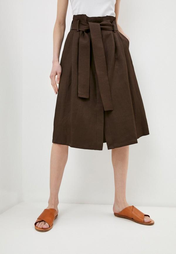 женская юбка-трапеции p.a.r.o.s.h, коричневая