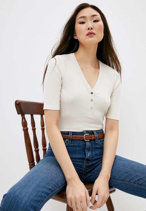 женская футболка lauren ralph lauren, бежевая