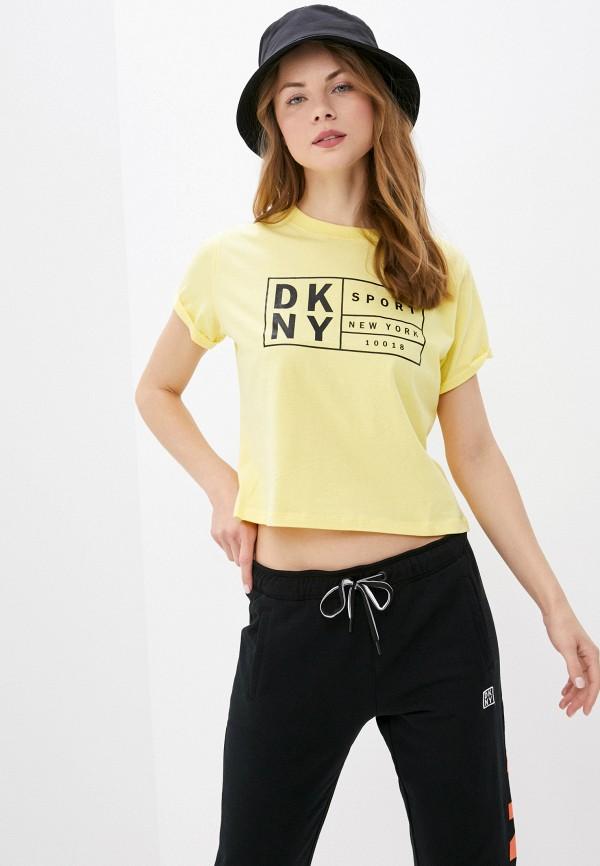 женская футболка dkny, желтая