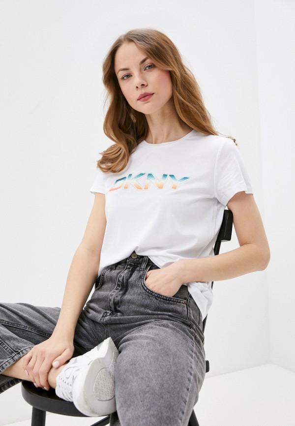 женская футболка dkny, белая