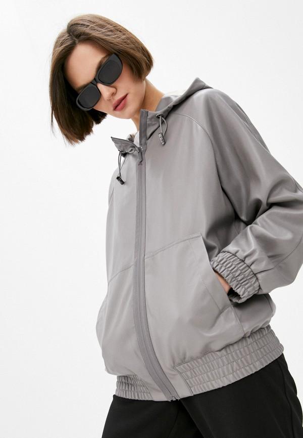 женская кожаные куртка dkny, серая