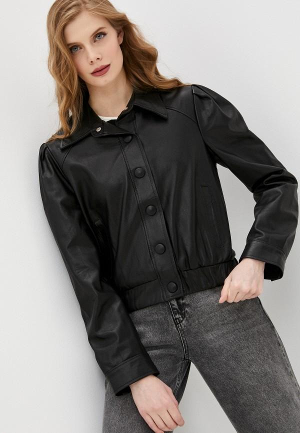 женская кожаные куртка imperial, черная