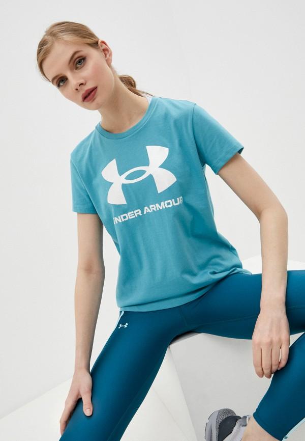 женская спортивные футболка under armour, голубая