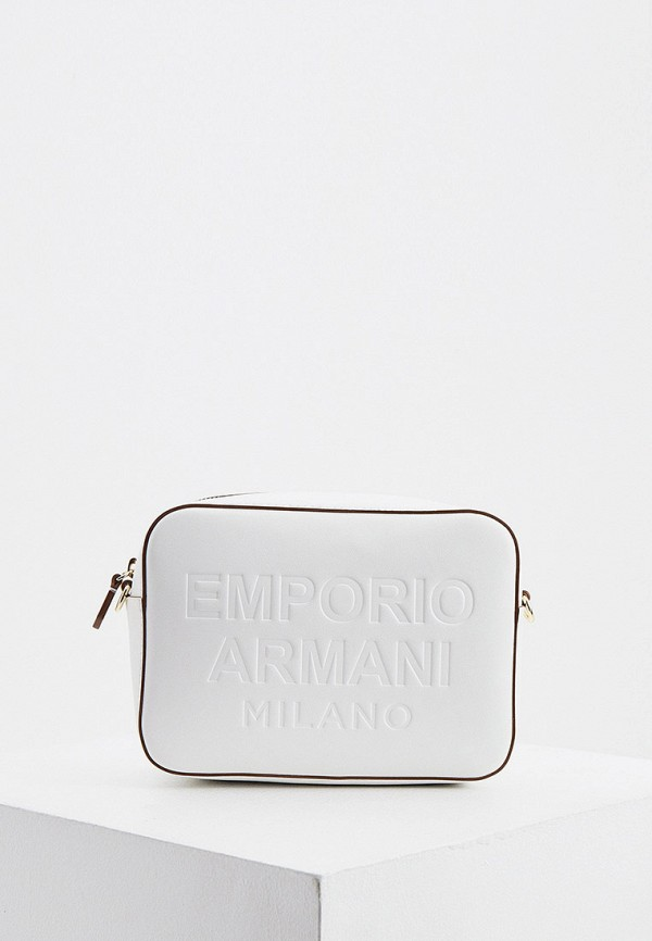 женская сумка через плечо emporio armani, белая