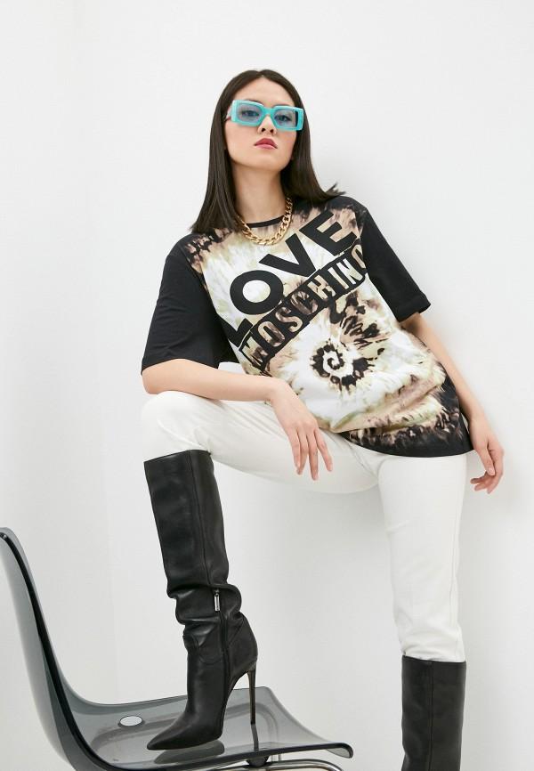 женская футболка love moschino, разноцветная