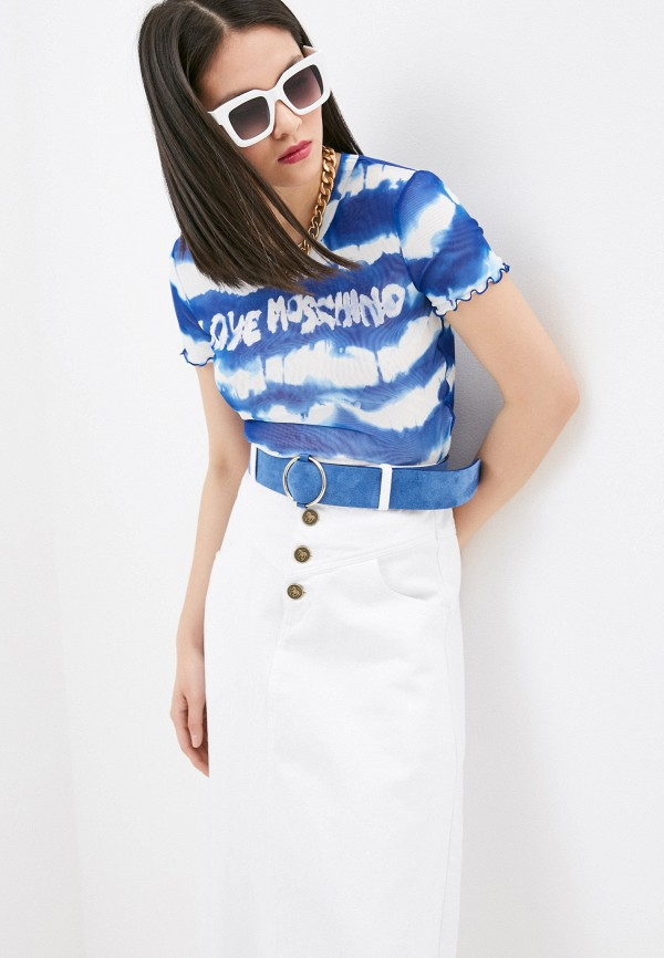 женская футболка love moschino, синяя