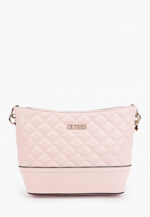 женская сумка через плечо guess, розовая