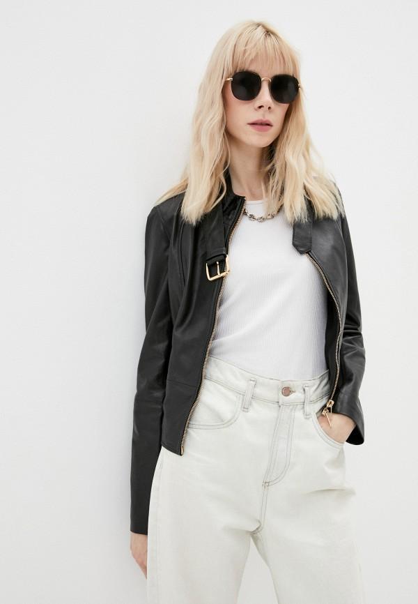 женская кожаные куртка liu jo, черная