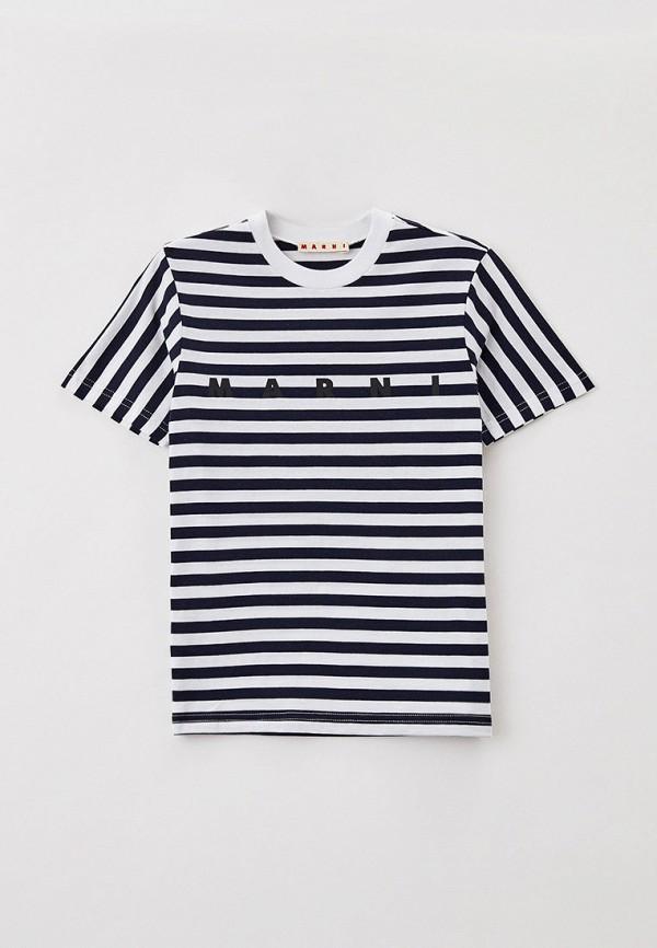 футболка с коротким рукавом marni малыши, синяя