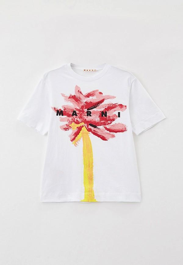 футболка с коротким рукавом marni для девочки, белая