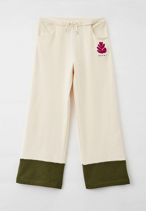 спортивные брюки marni для девочки, бежевые