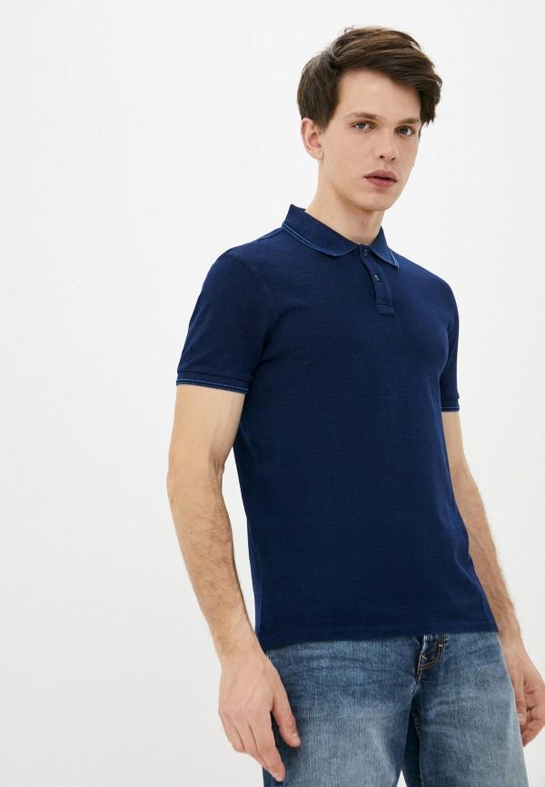мужское поло с коротким рукавом strellson, синее