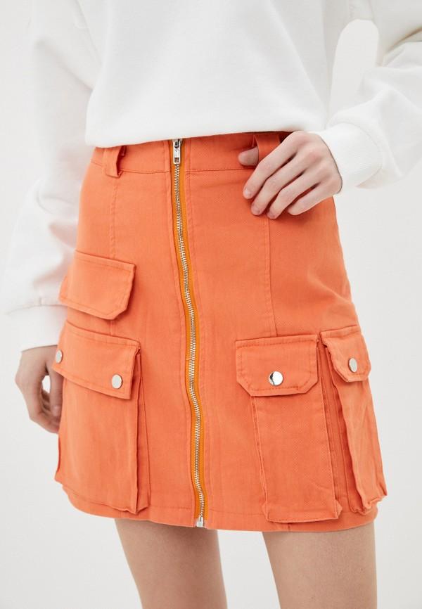 женская джинсовые юбка nerouge, оранжевая